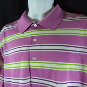 Alan Flusser Golf Mens Striped Polo Shirt Size Lg